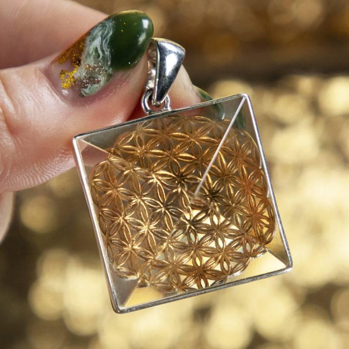 Avalon Treasures Clear Quartz Flower of Life Pendant
