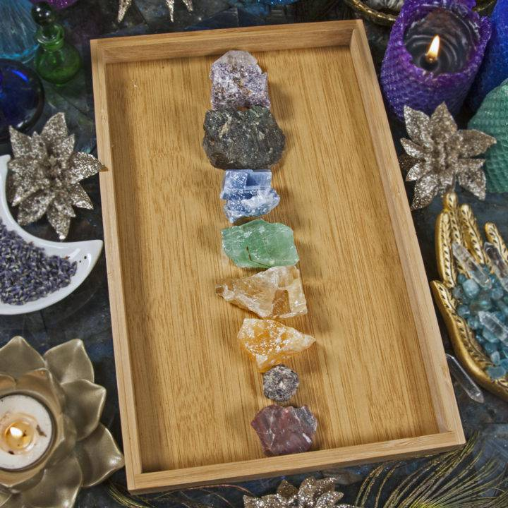 Bamboo Tray with Chakra Gemstone Set