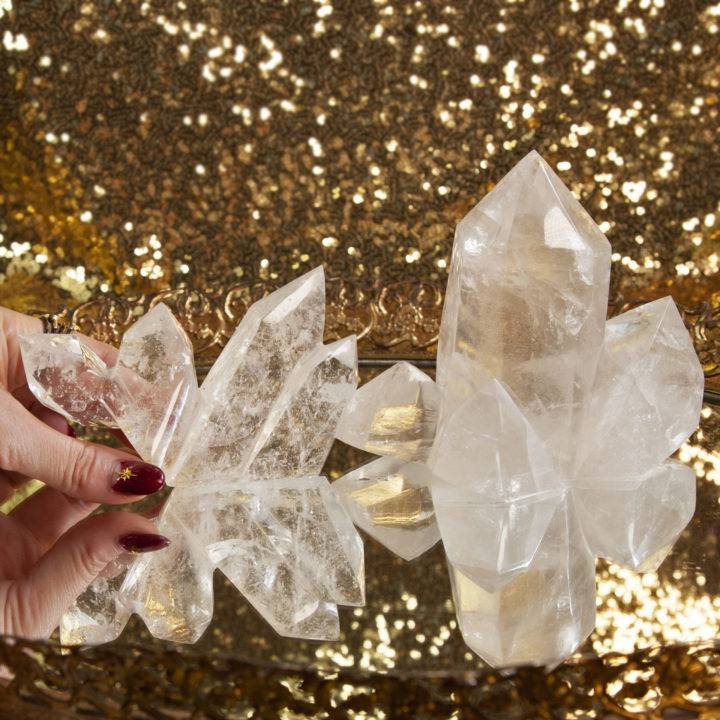 Clear Quartz 4 Pointed Polished Clusters