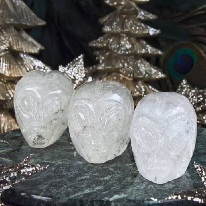 Clear Quartz Alien Skulls