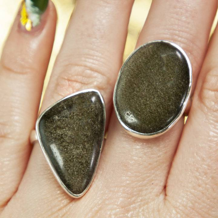 Golden Sheen Obsidian Sterling Silver Ring