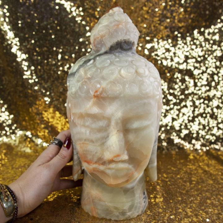 Green Onyx Buddha Head