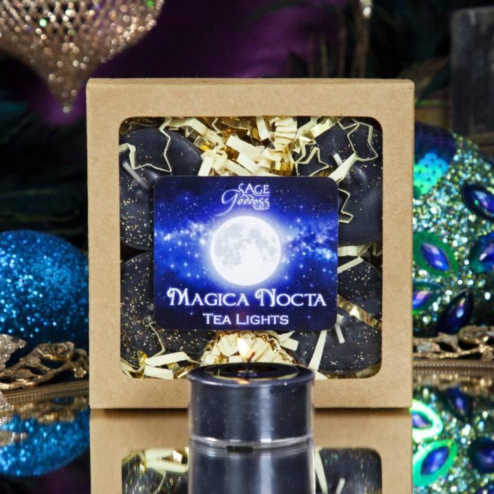 Labradorite Octagon Tea Light Holders with Magica Nocta Tea Lights
