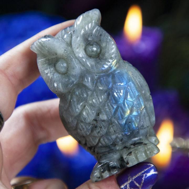 Labradorite Owl Carving