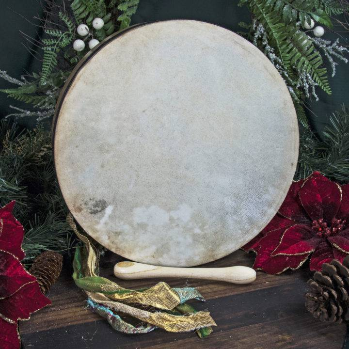 Natural Hide Bodhrán Drum with Beater
