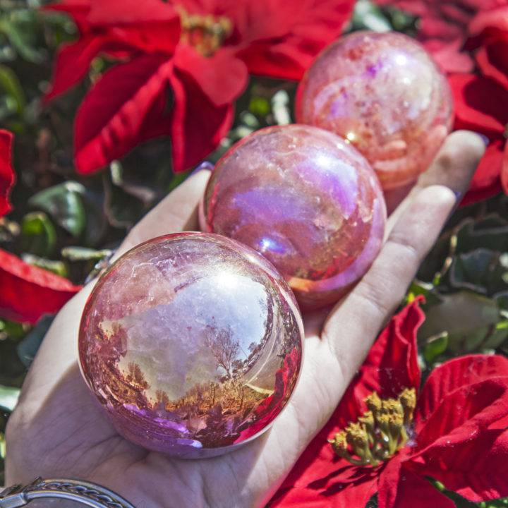 No Worries Aura Strawberry Quartz Spheres