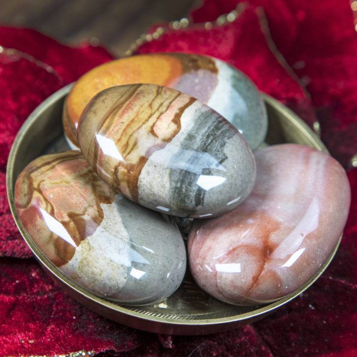 Peaceful Polychrome Jasper Palm Stone