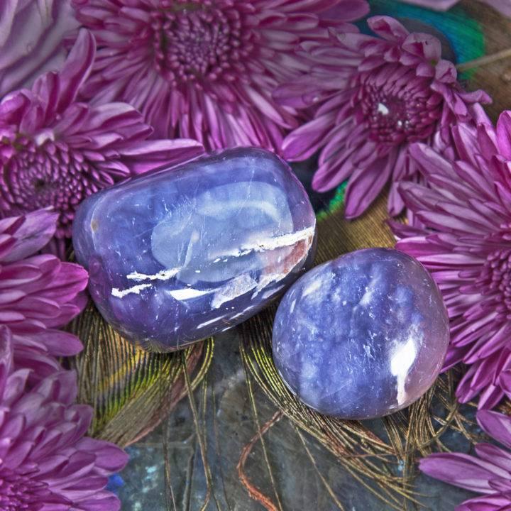 Purple Chalcedony Palm Stones