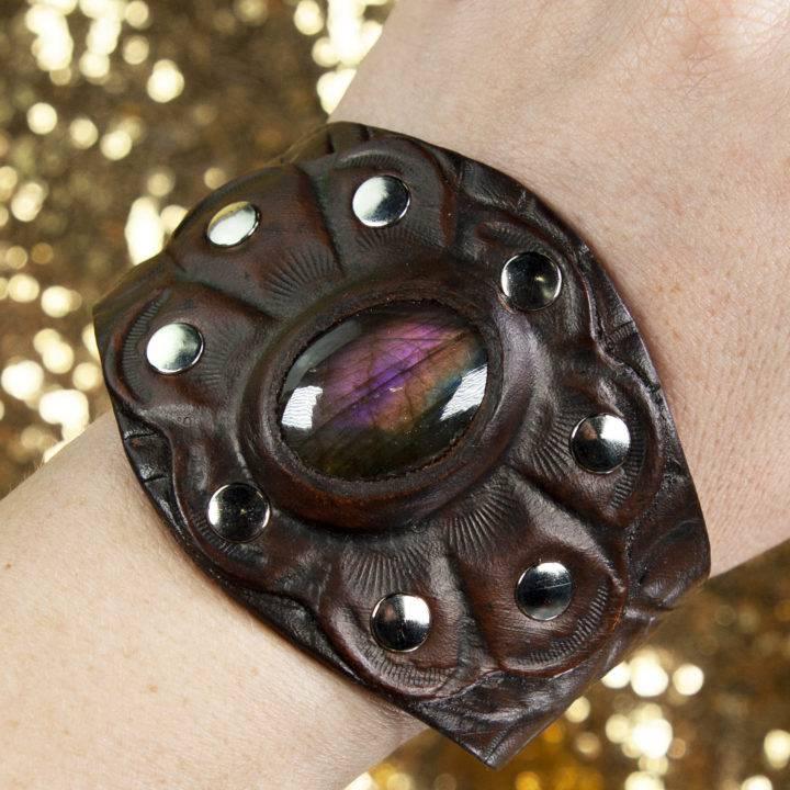 Purple Flash Labradorite Leather Bracelet