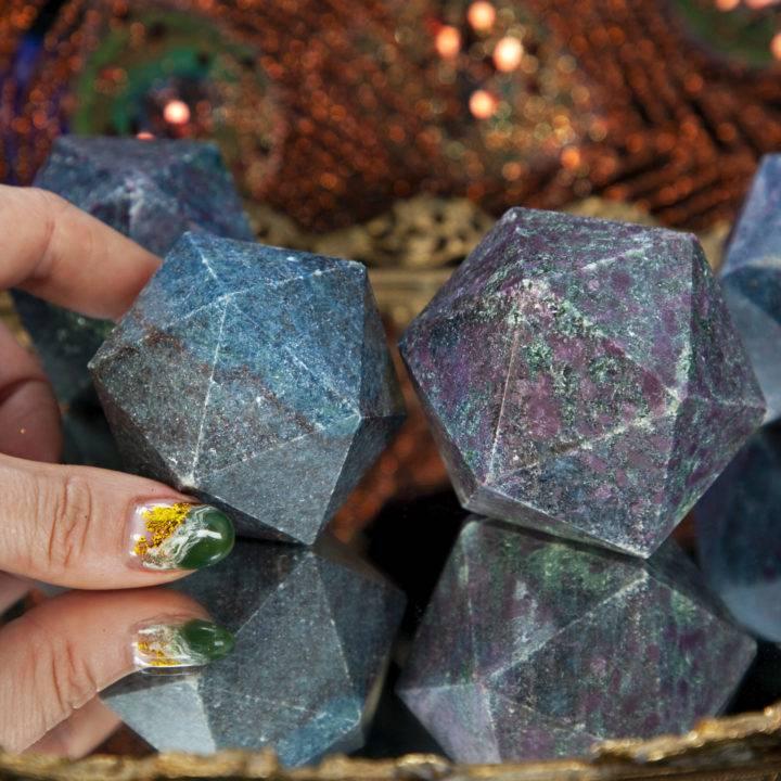Ruby Kyanite Icosahedrons