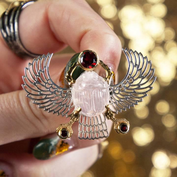 Rose Quartz Winged Scarab Pendant