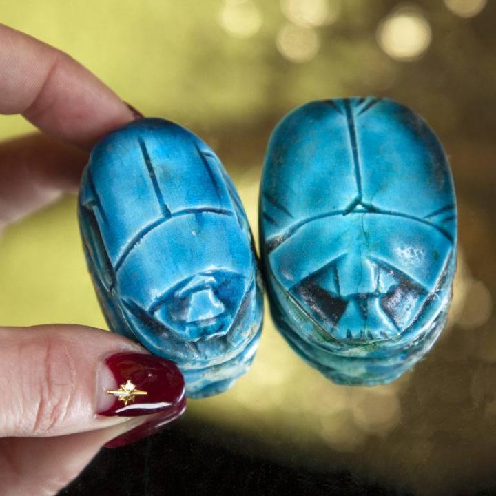 Royal Blue Ceramic Scarab Beetles