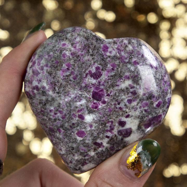 Ruby in Moonstone Feldspar Matrix Heart