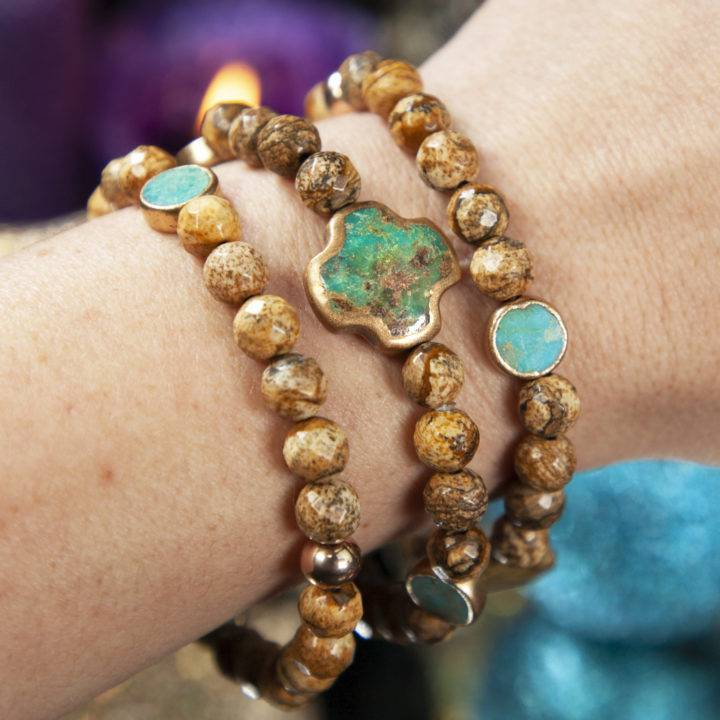 Soul Shift Faceted Picture Jasper and Turquoise Bracelets