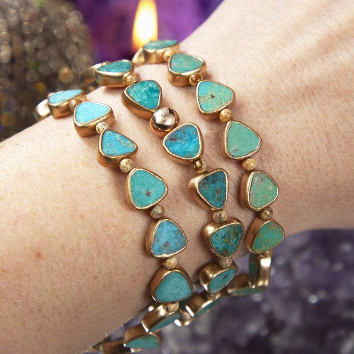 Turquoise and Picture Jasper Warrior Bracelets