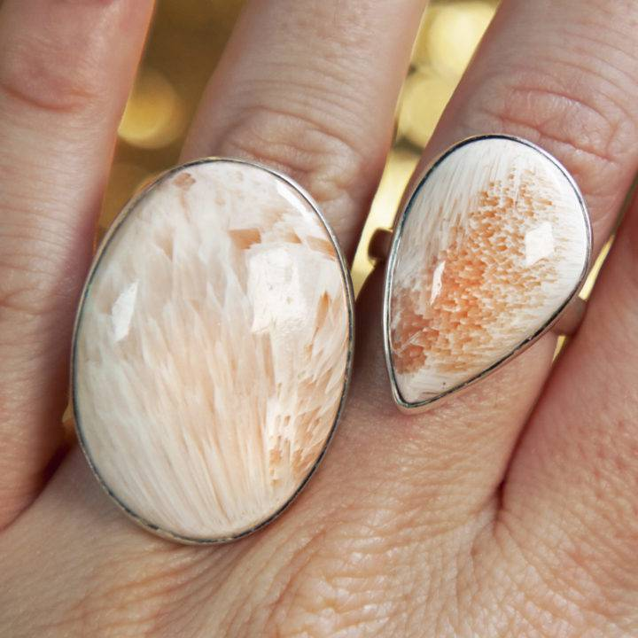 Scolecite and Peach Stilbite Adjustable Rings