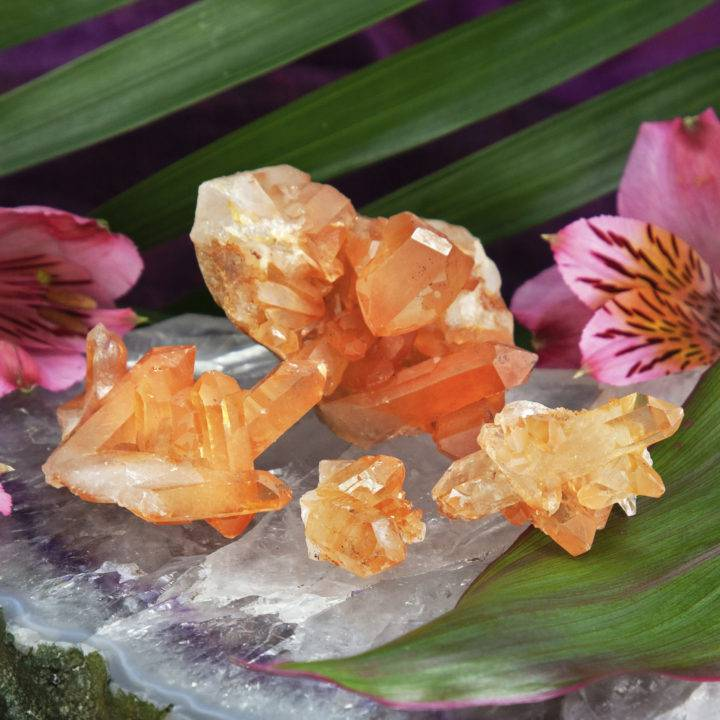 Tangerine Quartz Clusters