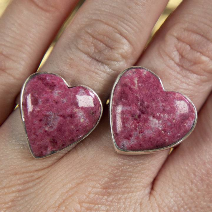 Thulite Heart Sterling Silver Ring