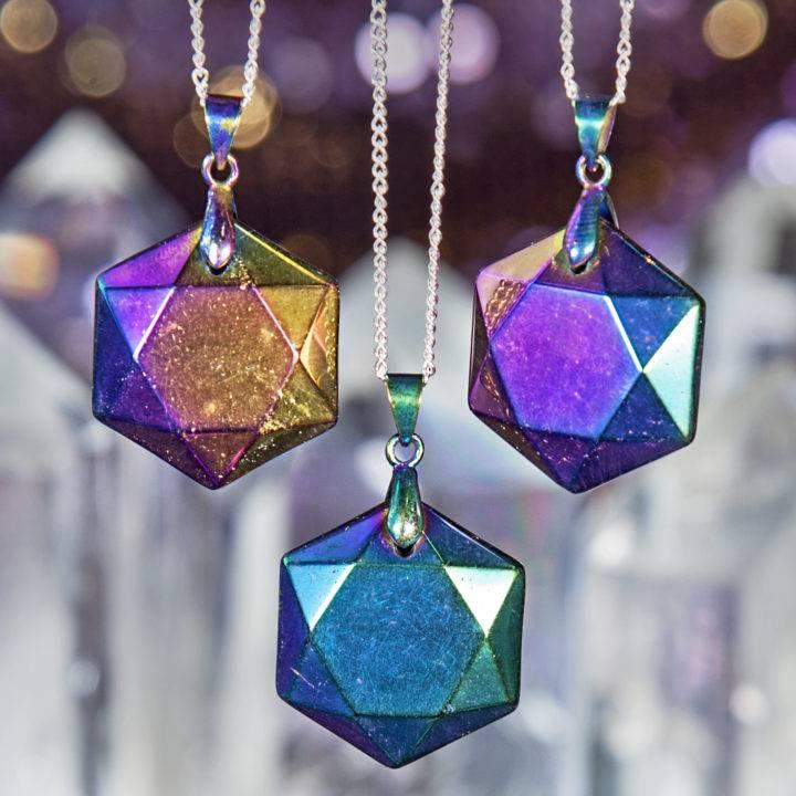 Titanium Aura Quartz Hexagon Pendants