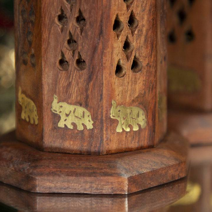 Wooden Tower Elephant Incense Burner