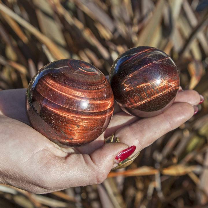 Wise Power Red Tigers Eye Spheres