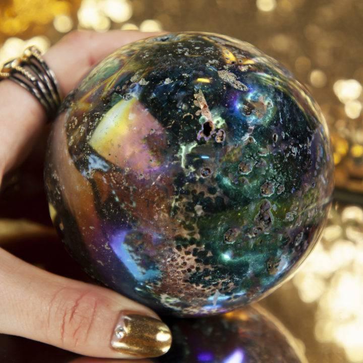 Angel Aura Ocean Jasper Sphere