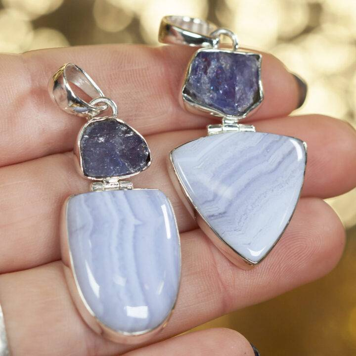 Blue Lace Agate and Tanzanite Sterling Silver Pendant