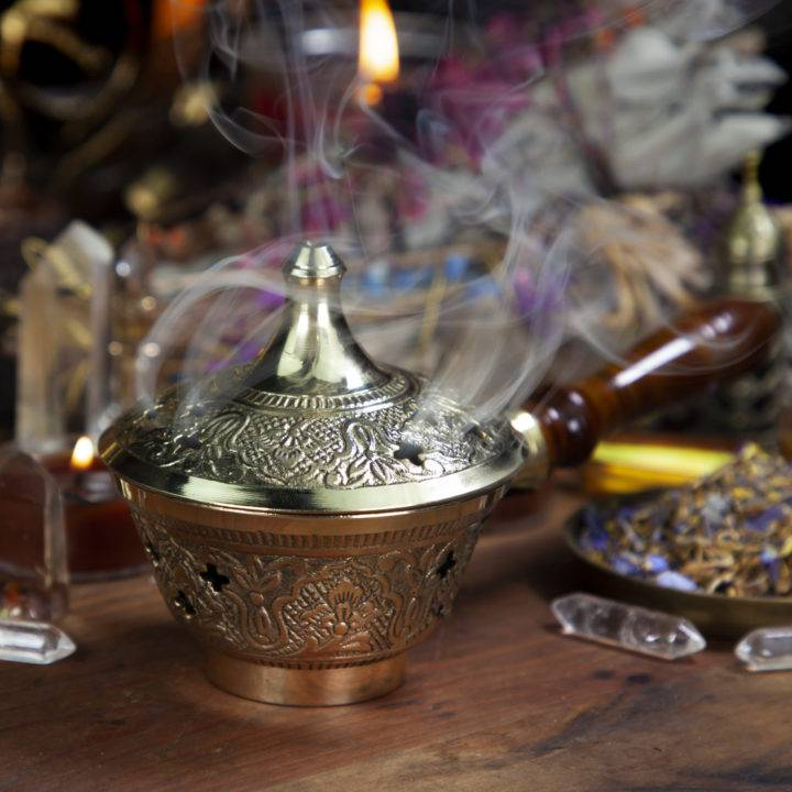 Brass Charcoal Incense Burner with Handle