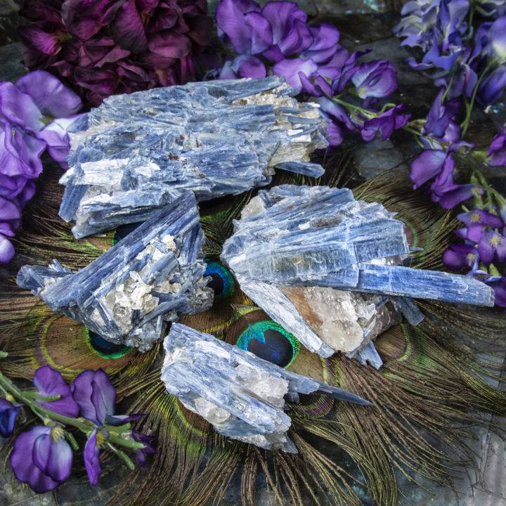 Blue Kyanite in Quartz Cluster