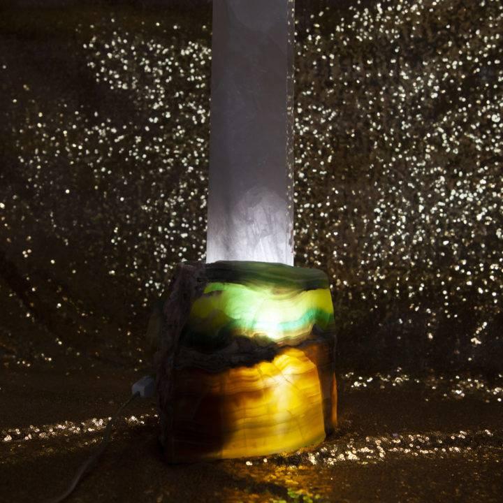 Clear Quartz Lamp with Rainbow Fluorite Base