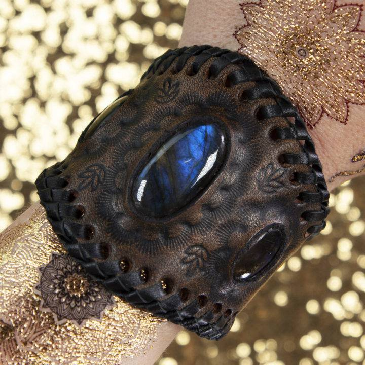 Dark Moon Labradorite Leather Bracelet