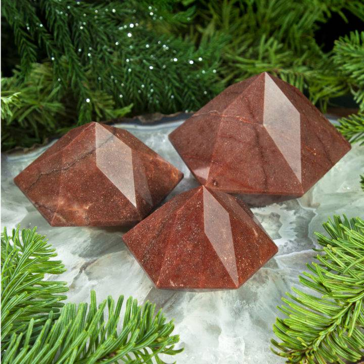 Faceted Hexagonal Red Aventurine Pyramid