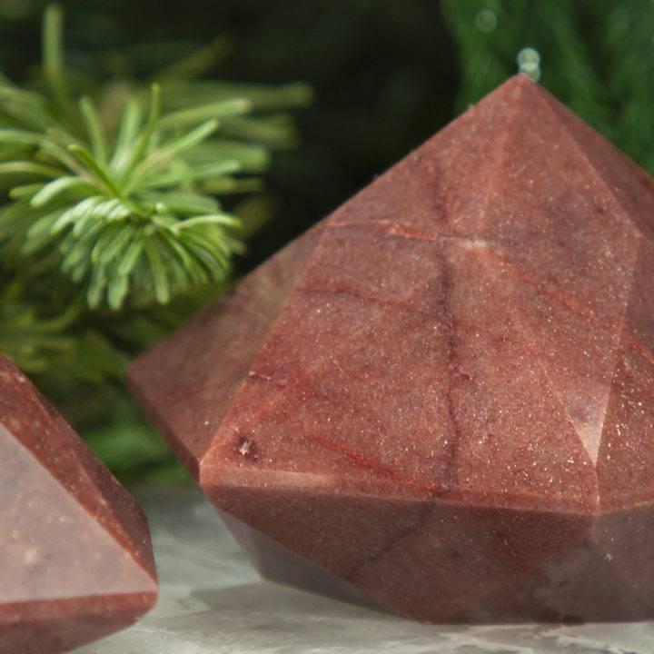 Faceted Hexagonal Red Aventurine Pyramid