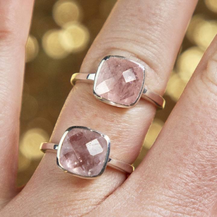 Faceted Morganite Ring