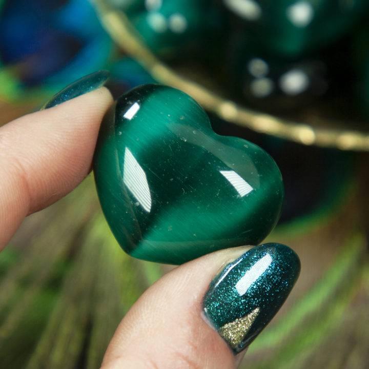 Green Cat's Eye Heart