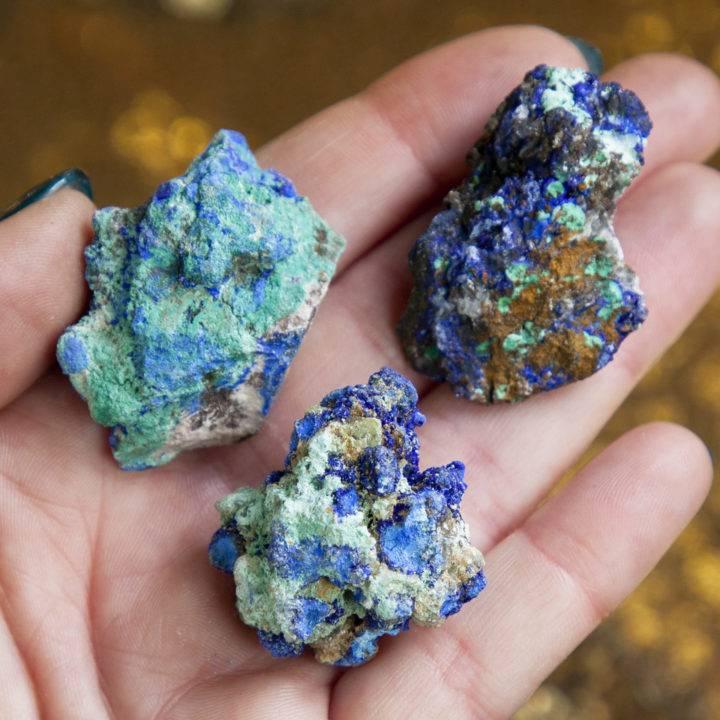 Greek Selenite and Azurite Cluster
