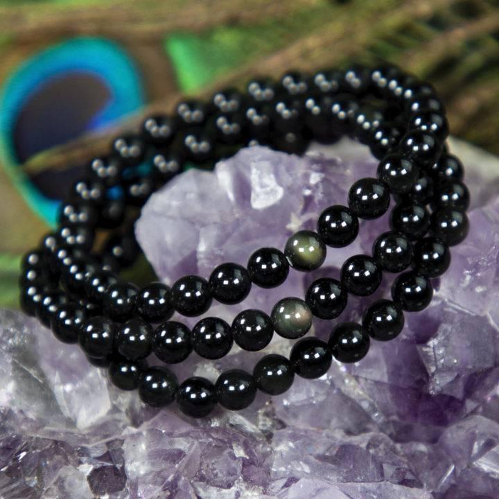 Into the Light Rainbow Obsidian Bracelet