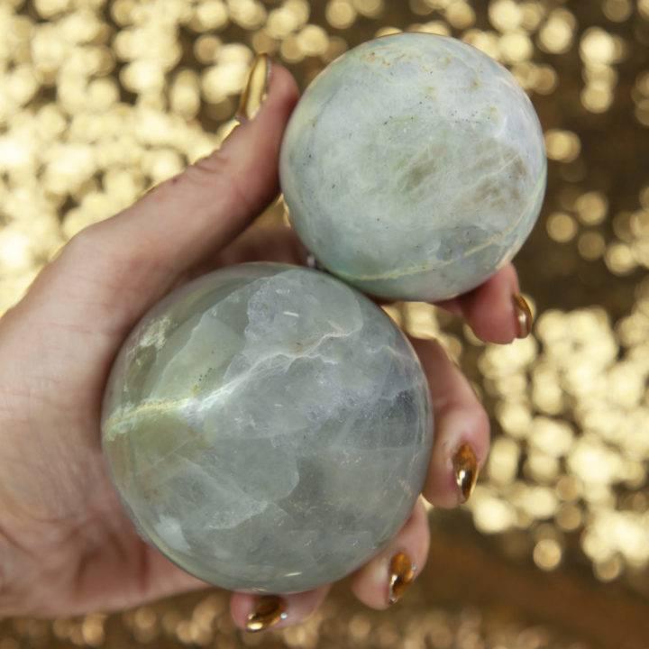 Garnierite in Moonstone Sphere