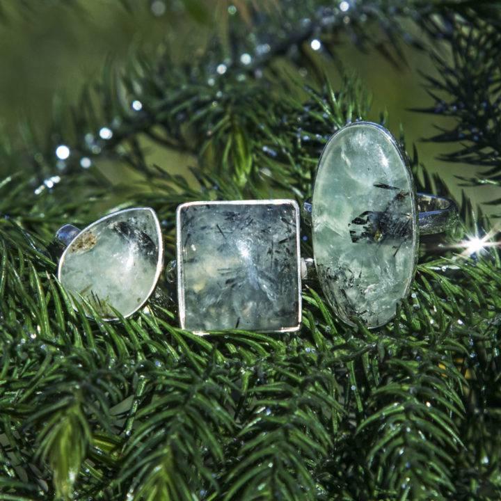 Manifest Healing Prehnite with Epidote Ring