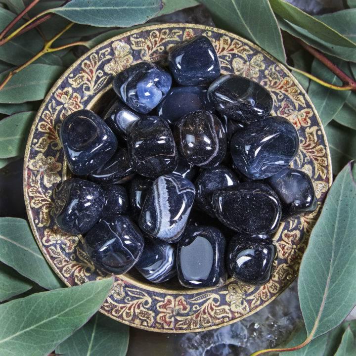 Medium Tumbled Black Agate