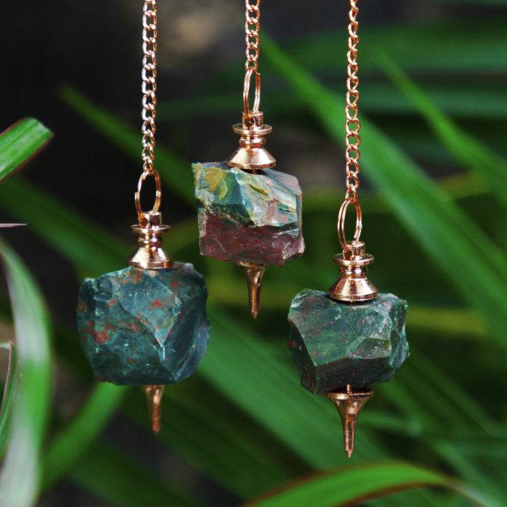 Natural Bloodstone and Copper Pendulum
