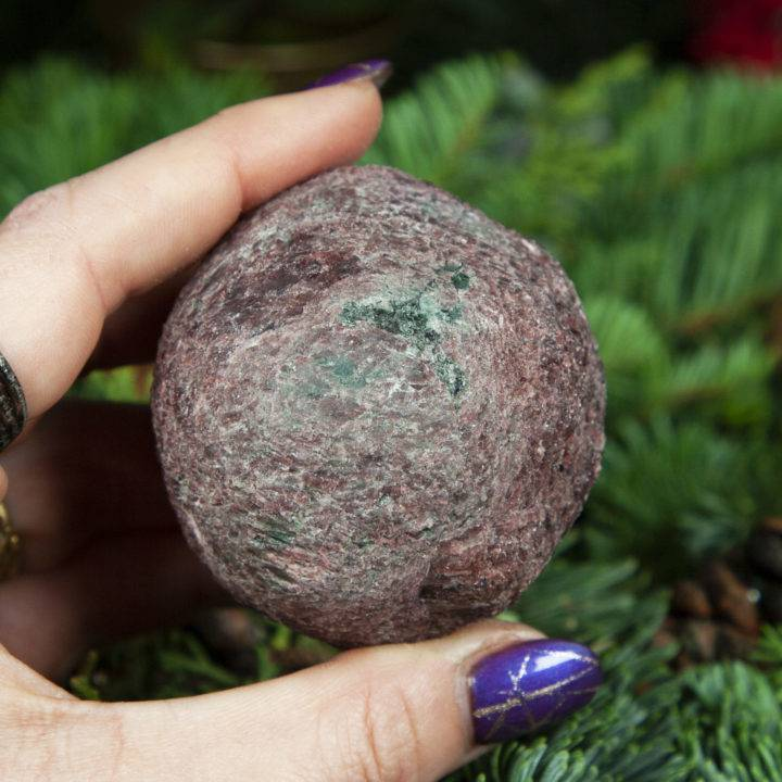 Raw Garnet and Fuchsite Love, Balance, and Healing Magic Ball