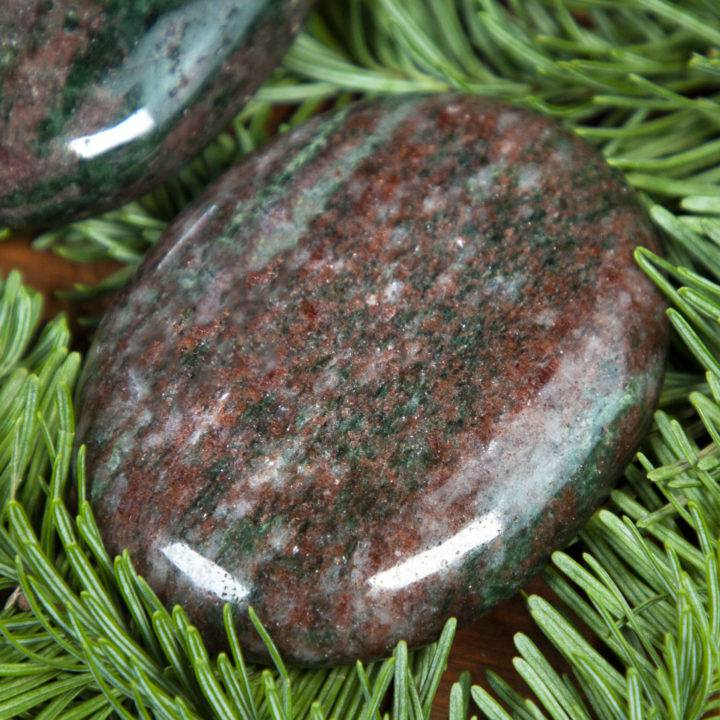 Red Andradite Garnet with Epidote Palm Stone