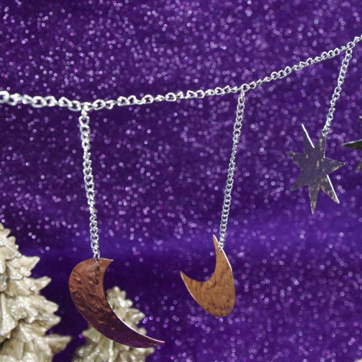 Silver and Copper Moon and Star Garland