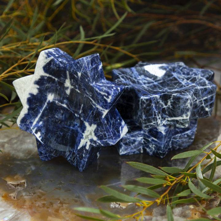 Sodalite Star Smudge Bowl with Mini White Sage Bundle
