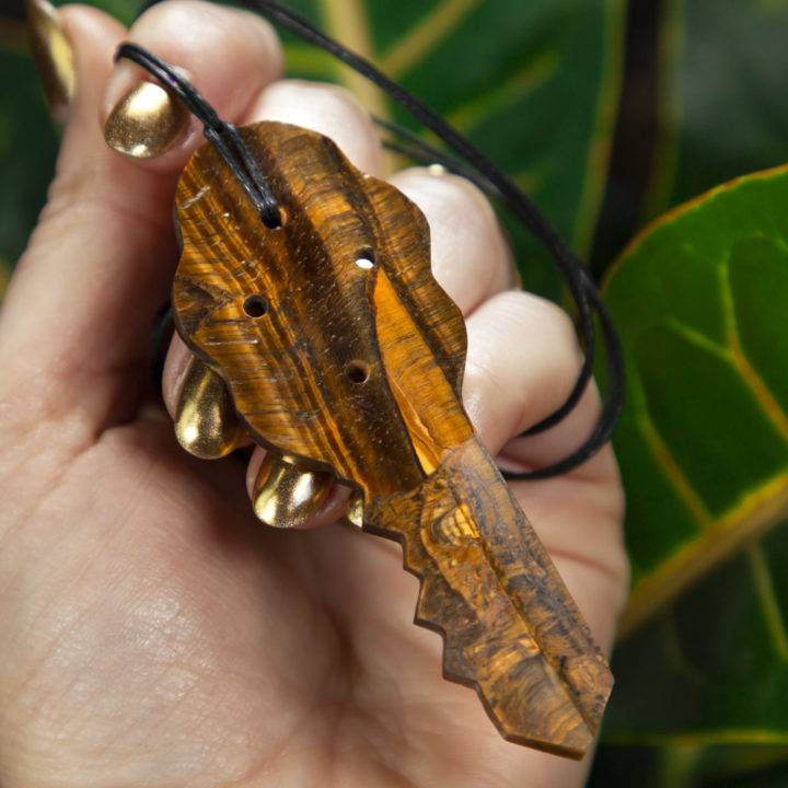 Tigers Eye Key of Wisdom Pendant