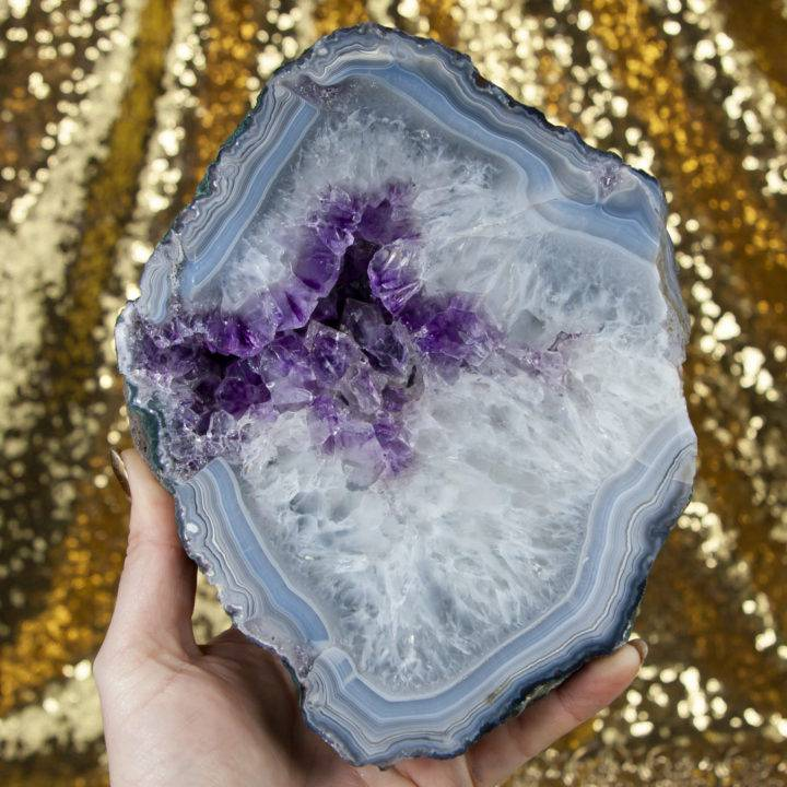 Agate with Amethyst Slice