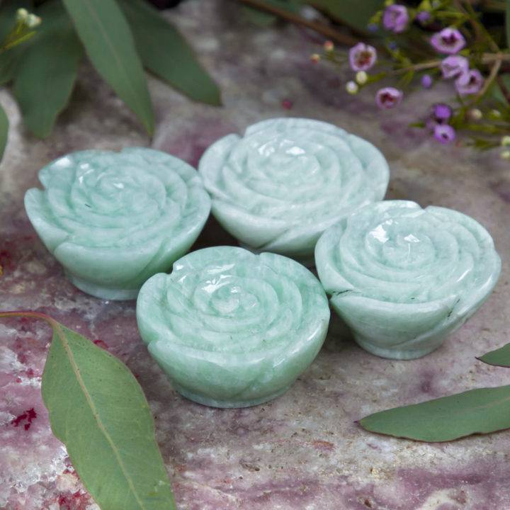 Amazonite Rose Carving