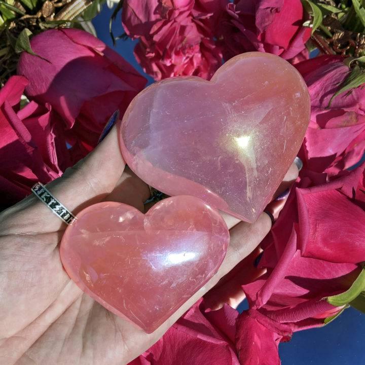 Angel Aura Rose Quartz Heart