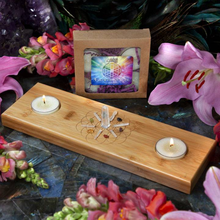 Flower of Life Candle Holder, Tea Lights, and Mini Gem Set